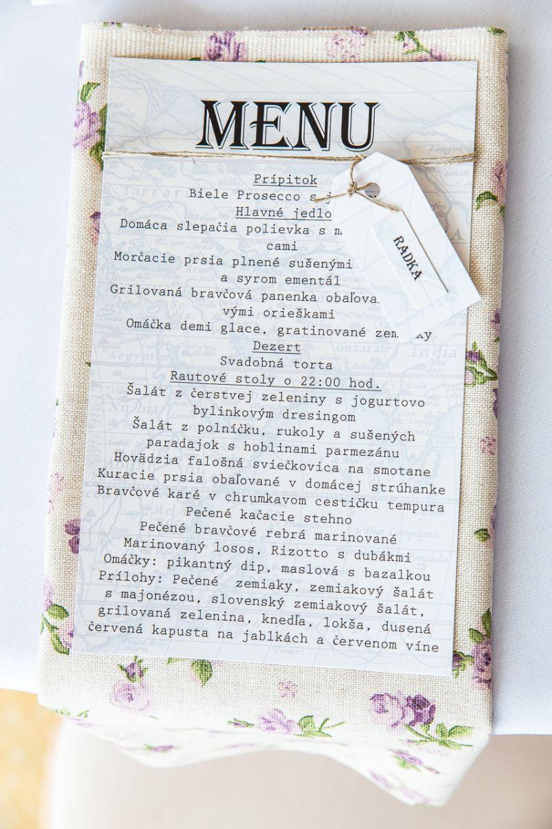 svadobné tlačoviny, svadobné menu