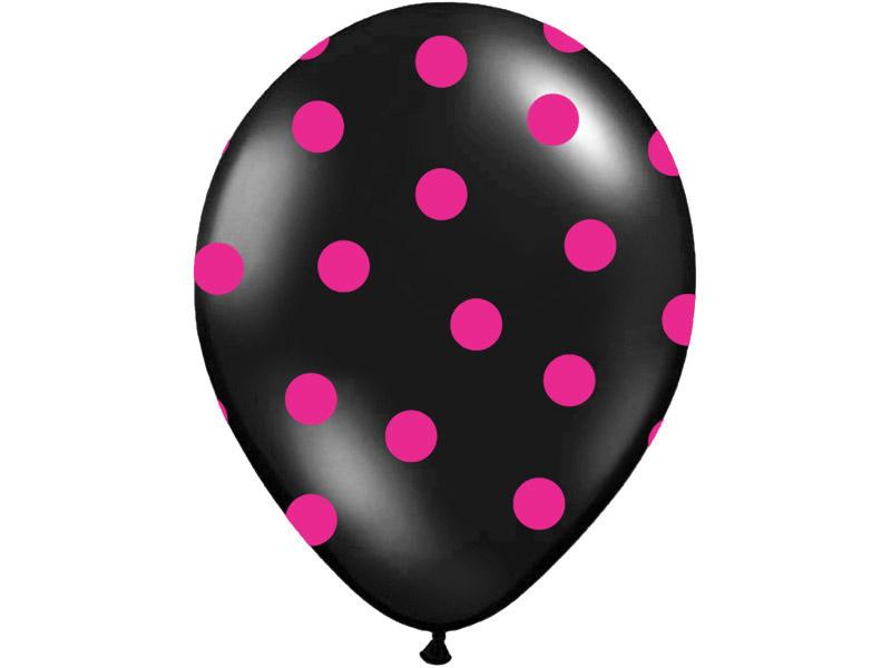 Balón čierny s cyklámenovými bodkami 30cm - Predaj organzy a ... 976a3ea75b