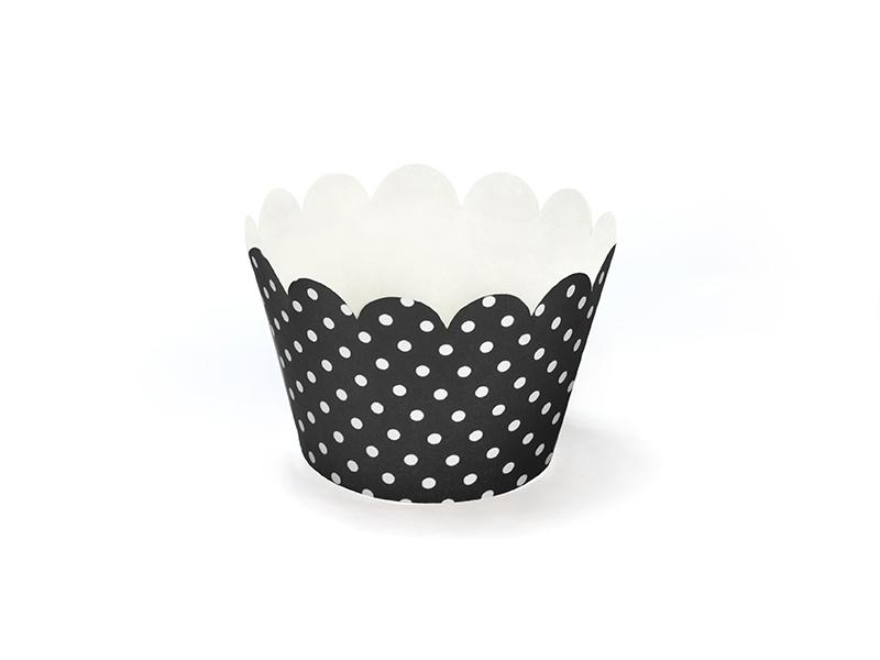 Košíčky na muffiny a cupcake čierne bodkované - Predaj organzy a ... ee54ae52ca
