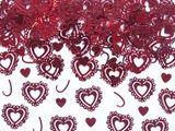 Konfety malé srdiečkové s čipkovaným okrajom červené