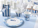 Košíčky na muffiny a cupcake tyrkysové - tmavé modré prúžkované