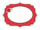 Menovka - etiketa bodkovaná červená