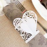 Papierový krúžok na servítky ivory - bledý krém Srdce