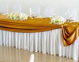 Sukňa na stôl 0,75 x 4m saténová biela
