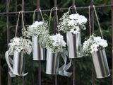 Svadobné plechovky strieborné na kvety