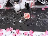 Vzorovaná organza čierna so striebornými kvetmi (glitrová potlač) 1ks