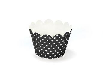 Košíčky na muffiny a cupcake čierne bodkované