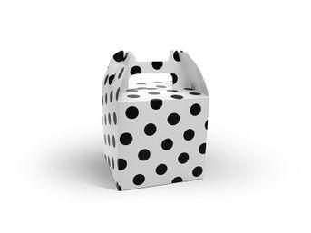 Krabica na darček biela bodkovaná