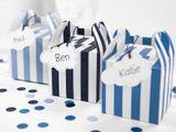 Krabica na darček tyrkys tmavý - kráľovská modrá prúžkovaná
