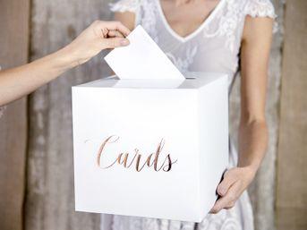 Krabica na telegramy biela Cards ružové zlato