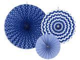 Rozety tyrkysové - kráľovské modré 3ks