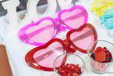 Svadobné srdiečkové okuliare trblietavé ružové XXL
