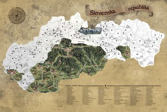Stieracia mapa Slovenska XXL 60x90cm strieborná