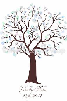 Svadobný obraz - Svadobný strom na odtlačky hnedý 30cm x 40cm