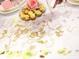 Vzorovaná organza biela so zlatými kvetmi (glitrová potlač) 1ks