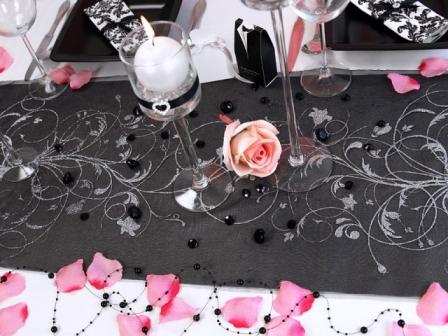 Vzorovaná organza čierna so striebornými kvetmi (glitrová potlač) 1ks 0f435e9c2f